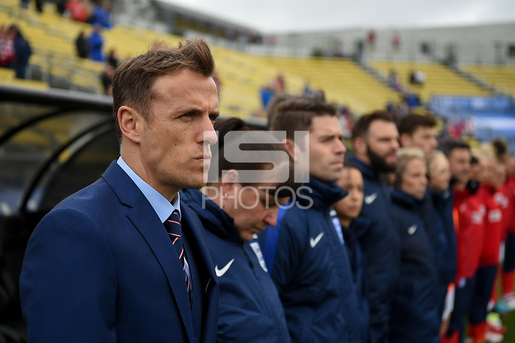 Columbus, Ohio - Thursday March 01, 2018: Phil Neville during a 2018 SheBelieves Cup match between the women's national teams of the England (ENG) and France (FRA) at MAPFRE Stadium.