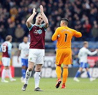 Burnley's Ashley Barnes applauds the fans at the final whistle<br /> <br /> Photographer Rich Linley/CameraSport<br /> <br /> The Premier League - Saturday 13th April 2019 - Burnley v Cardiff City - Turf Moor - Burnley<br /> <br /> World Copyright © 2019 CameraSport. All rights reserved. 43 Linden Ave. Countesthorpe. Leicester. England. LE8 5PG - Tel: +44 (0) 116 277 4147 - admin@camerasport.com - www.camerasport.com