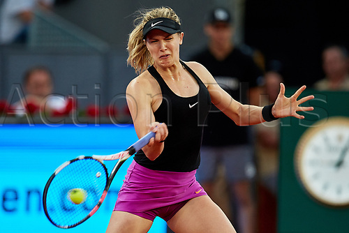 May 8th 2017, Caja Magica, Madrid, Spain; Mutua Madrid Open tennis tournament; Eugenie Bouchard of Canada in action in her singles match versus Maria Sharapova