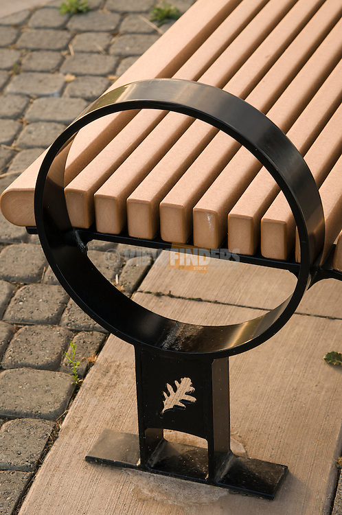 Detail of a bench at Graham Oaks.