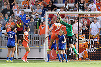 Houston, TX - Saturday May 27, 2017: Haley Kopmeyer clears the ball away from the goal during a regular season National Women's Soccer League (NWSL) match between the Houston Dash and the Seattle Reign FC at BBVA Compass Stadium.