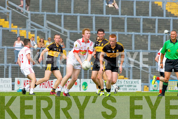 Johnny Buckley Dr Crokes and Gary O'Sullivan East Kerry during their county Championship clash in Killarney on Sunday