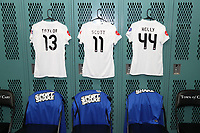 Cary, North Carolina  - Saturday June 03, 2017: Kits of Brittany Taylor, Desiree Scott, and Maegan Kelly in the FCKC locker room prior to a regular season National Women's Soccer League (NWSL) match between the North Carolina Courage and the FC Kansas City at Sahlen's Stadium at WakeMed Soccer Park. The Courage won the game 2-0.