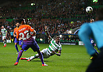 Moussa Dembele of Celtic scores their third goal during the Champions League Group C match at the Celtic Park Stadium, Glasgow. Picture date: September 28th, 2016. Pic Simon Bellis/Sportimage