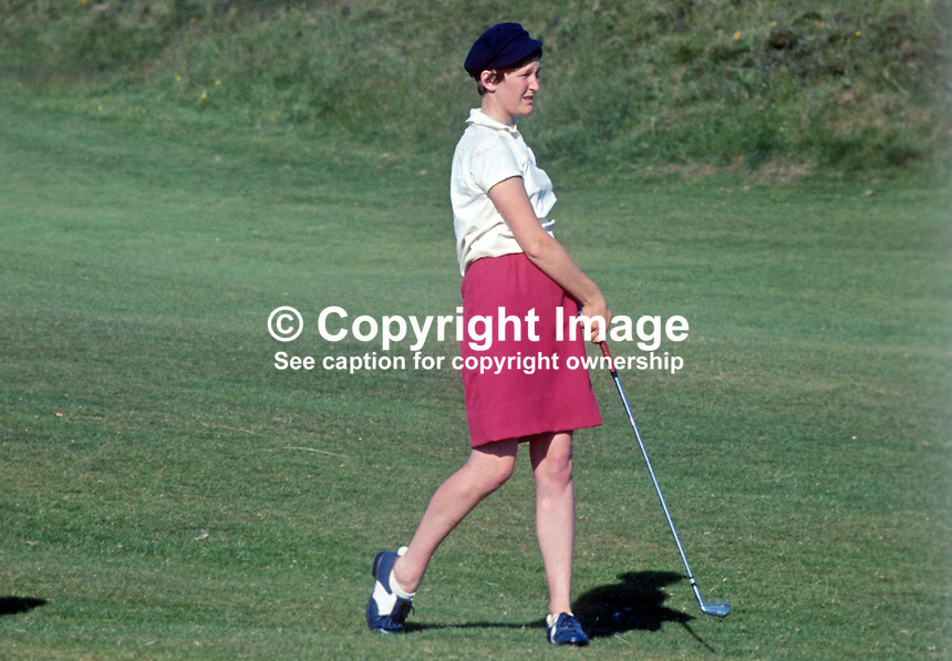 Dinah Oxley, golfer, member, British &amp; Irish Curtis Cup team, taken Royal County Down Golf Club, Newcastle, Co Down, N Ireland, June 1968, 196806000245b<br /> <br /> Copyright Image from Victor Patterson, 54 Dorchester Park, Belfast, UK, BT9 6RJ<br /> <br /> t: +44 28 90661296<br /> m: +44 7802 353836<br /> vm: +44 20 88167153<br /> e1: victorpatterson@me.com<br /> e2: victorpatterson@gmail.com<br /> <br /> For my Terms and Conditions of Use go to www.victorpatterson.com