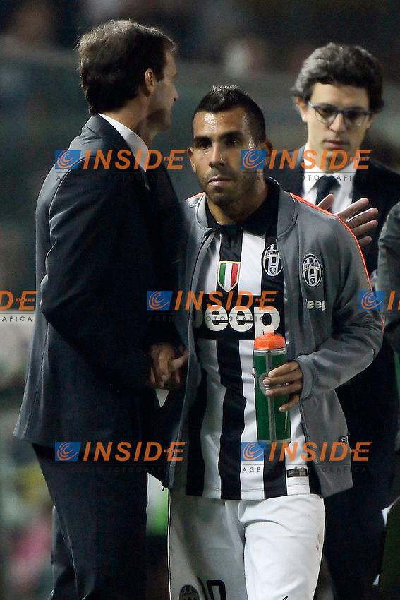 Carlos Tevez, Massimiliano Allegri Juventus<br /> Bergamo 27-09-2014 Stadio Atleti Azzurri d'Italia - Football Calcio Serie A Atalanta - Juventus. Foto Giuseppe Celeste / Insidefoto