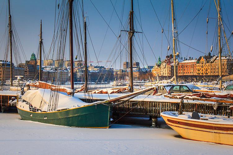 Vinter vid Galaärbryggan på Djurgården i Stockholm