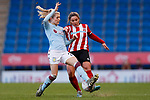 Alethea Paul (r) of Sheffield United and Emma Follis of Aston Villa during the The FA Women's Championship match at the Proact Stadium, Chesterfield. Picture date: 12th January 2020. Picture credit should read: James Wilson/Sportimage