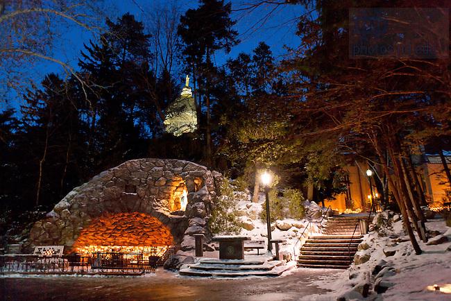 Dec. 26, 2004; Grotto at night in Winter..Photo by Matt Cashore