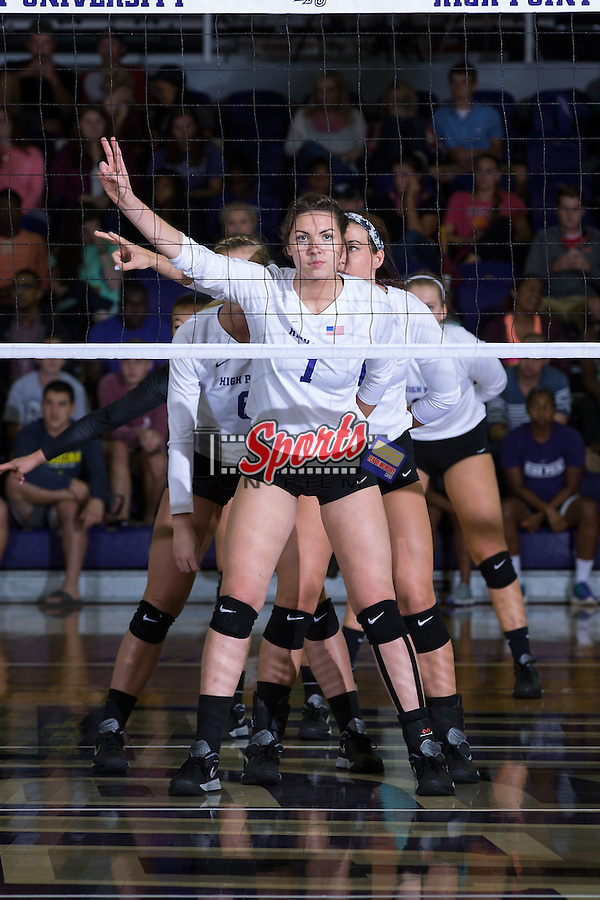 Jordan Hefner (1) of the High Point Panthers during the match against the Wake Forest Demon Deacons at the Panther Invitational at the Millis Athletic Center on September 12, 2015 in High Point, North Carolina.  The Demon Deacons defeated the Panthers 3-1.   (Brian Westerholt/Sports On Film)