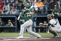 Michigan State Spartans designated hitter Chad Roskelly (24) follows through on his swing against the Michigan Wolverines on May 19, 2017 at Ray Fisher Stadium in Ann Arbor, Michigan. Michigan defeated Michigan State 11-6. (Andrew Woolley/Four Seam Images)