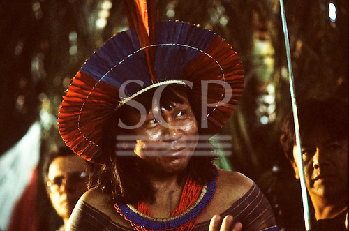 Altamira, Brazil. Paulinho Payakan (Bep Koroti Kayapo), the principal proponent of the protest against the Kararao dam; February 1989