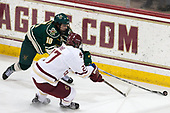 Travis Blanliel (UVM - 10), Graham McPhee (BC - 27) - The Boston College Eagles defeated the University of Vermont Catamounts 7-4 on Saturday, March 11, 2017, at Kelley Rink to sweep their Hockey East quarterfinal series.The Boston College Eagles defeated the University of Vermont Catamounts 7-4 on Saturday, March 11, 2017, at Kelley Rink to sweep their Hockey East quarterfinal series.