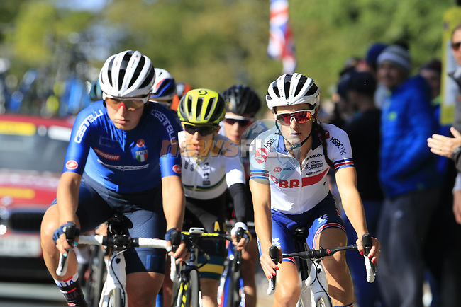 The first chase group led by Elisa Longo Borghini (ITA) with Elizabeth Deignan (GBR), Amanda Spratt (AUS) and Marta Bastianelli (ITA) during the Women Elite Road Race of the UCI World Championships 2019 running 149.4km from Bradford to Harrogate, England. 28th September 2019.<br /> Picture: Eoin Clarke | Cyclefile<br /> <br /> All photos usage must carry mandatory copyright credit (© Cyclefile | Eoin Clarke)
