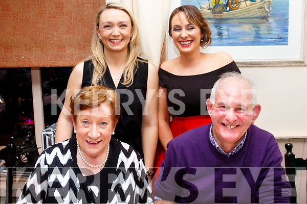 Seated L-R Adrienna&JJ Young enjoying JJ's retirement from Tralee Golf Club as Links Superintedant in the Oyster Tavern, the Spa, Tralee last Saturday night, back L-R Carol Dineen with Ída Young.