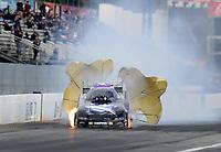 Feb 9, 2020; Pomona, CA, USA; NHRA funny car driver Jack Beckman has an engine fire during the Winternationals at Auto Club Raceway at Pomona. Mandatory Credit: Mark J. Rebilas-USA TODAY Sports