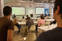 San Francisco, CA - Tuesday, July 1, 2014:  Workers watched the  USA vs. Belgium World Cup Round of 16 game at Pivotal Lab offices South of Market in San Francisco.