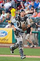 Ryan Ortiz (9) of the Sacramento River Cats on defense against the Salt Lake Bees at Smith's Ballpark on June 6, 2014 in Salt Lake City, Utah.  (Stephen Smith/Four Seam Images)