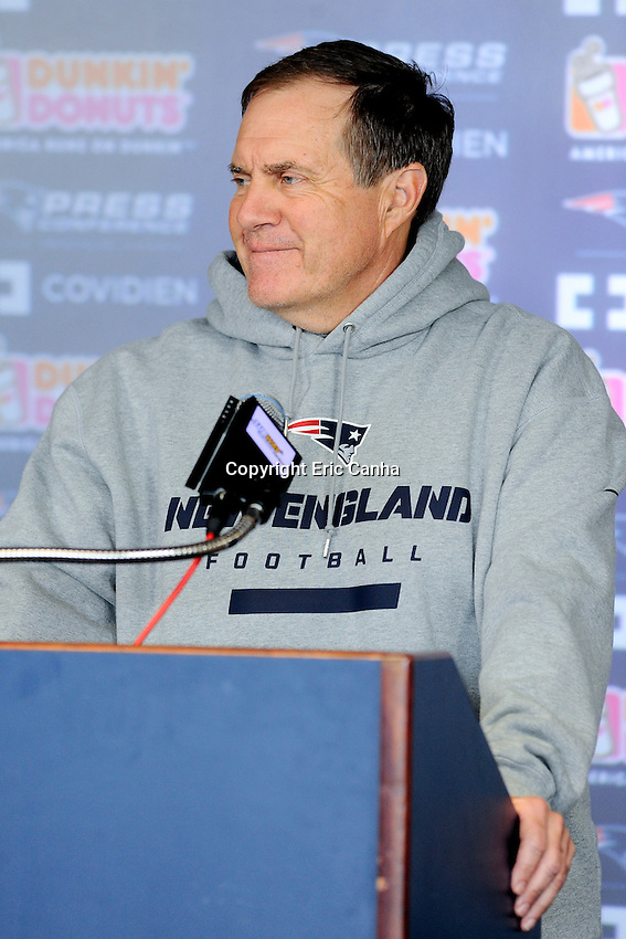 New England Patriots head coach Bill Belichick answers questions from the media prior to the start of the Patriots rookie mini camp at Gillette Stadium in Foxborough Massachusetts. Eric Canha/CSM