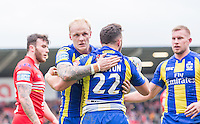 Picture by Allan McKenzie/SWpix.com - 04/03/2017 - Rugby League - Betfred Super League - Salford Red Devils v Warrington Wolves - AJ Bell Stadium, Salford, England - Warrington's Declan Patton is congratulated by Rhys Evams on scoring a try against Salford.