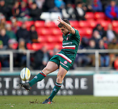 6th January 2018, Welford Road Stadium, Leicester, England; Aviva Premiership rugby, Leicester Tigers versus London Irish; Captain George Ford  kicks from the center spot to restart the match