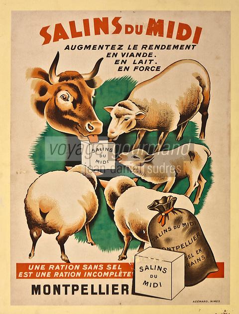 Europe/France/Provence-Alpes-Côte d'Azur/13/Bouches-du-Rhône/Env d'Arles/Salins-de-Giraud: Ecomusée du sel - Affiche pour  la promotion de l'usage du sel dans l'alimentation animale