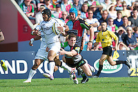 Sam Tuitupou of Sale Sharks breaks in midfield during the Aviva Premiership match between Harlequins and Sale Sharks at The Twickenham Stoop on Saturday 15th September 2012 (Photo by Rob Munro)