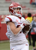 NWA Democrat-Gazette/ANDY SHUPE<br /> Arkansas tight end Grayson Gunter makes a catch in the end zone Saturday, April 6, 2019, during the Razorbacks' spring game in Razorback Stadium in Fayetteville. Visit nwadg.com/photos to see more photographs from the game.