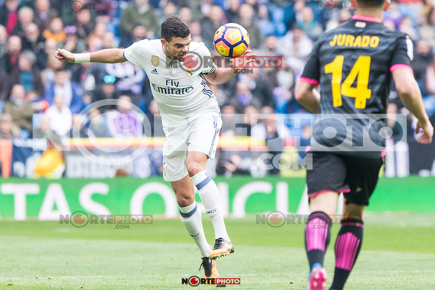 Kleper Lima Ferreira Pepe of Real Madrid in action during the match of La Liga between Real Madrid and RCE Espanyol at Santiago Bernabeu  Stadium  in Madrid , Spain. February 18, 2016. (ALTERPHOTOS/Rodrigo Jimenez) /Nortephoto.com