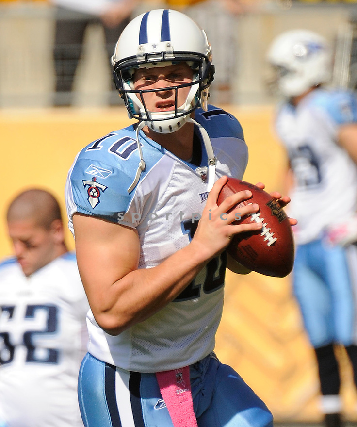 JAKE LOCKER, of the Tennessee Titans, in action during the Titans game against the Pittsburgh Steelers on October 9, 2011 at Heinz Field in Pittsburgh, PA.The Steelers beat the Titans 38-17.