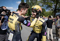 Last team to start is also the winning team at the finish; Team Jumbo-Visma wins the TTT and (almost) all of the jerseys > their post-finish joy is as high.<br /> Also huge factor in the succes is Grand Tour rookie & cycling sensation Wout van Aert (BEL/Jumbo - Visma).<br /> <br /> Stage 2 (TTT): Brussels to Brussels (BEL/28km) <br /> 106th Tour de France 2019 (2.UWT)<br /> <br /> ©kramon