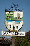 Saxmundham village sign, Suffolk, England