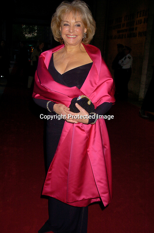 Barbara Walters  in Oscar de la Renta ..at the New York City Ballet 2004 Spring Gala on             May 5, 2004 at The New York State Theatre.                       Photo by Robin Platzer, Twin Images