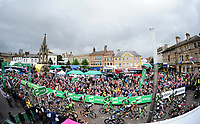 Picture by Simon Wilkinson/SWpix.com 05/09/2017 - Cycling OVO Energy Tour of Britain - Stage 4 Mansfield to Newark on Trent<br /> The start rolls out from Market Square, Mansfield