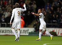 Sunday, 28 November 2012<br /> Pictured: Wayne Routledge (R) of Swansea celebrating his goal with fellow scorer Michu (L).<br /> Re: Barclays Premier League, Swansea City FC v West Bromwich Albion at the Liberty Stadium, south Wales.