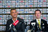 New Phoenix coach Mark Rudan (left) and Phoneix general mannager David Dome. Wellington Phoenix new coach announcement at Westpac Stadium in Wellington, New Zealand on Thursday, 10 August 2017. Photo: Dave Lintott / lintottphoto.co.nz