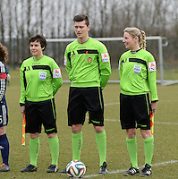20150226 - Tubize , Belgium : assistant referees Berengere Pierart (left) and Stephanie Forde (right) pictured during the friendly female soccer match between Women under 17 teams of  Belgium and Scotland  . Thursday 26th February 2015 . PHOTO DAVID CATRY