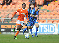 Blackpool's Marc Bola under pressure from Gillingham's Barry Fuller<br /> <br /> Photographer Kevin Barnes/CameraSport<br /> <br /> The EFL Sky Bet League One - Blackpool v Gillingham - Saturday 4th May 2019 - Bloomfield Road - Blackpool<br /> <br /> World Copyright © 2019 CameraSport. All rights reserved. 43 Linden Ave. Countesthorpe. Leicester. England. LE8 5PG - Tel: +44 (0) 116 277 4147 - admin@camerasport.com - www.camerasport.com