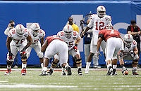Ohio State Buckeyes offensive lineman Darryl Baldwin (76), Ohio State Buckeyes offensive lineman Pat Elflein (65) and Ohio State Buckeyes offensive lineman Jacoby Boren (50) against Alabama Crimson Tide in the Allstate Sugar Bowl college football Playoff Semifinal game against Alabama Crimson Tide at the Mercedes-Benz Superdome in New Orleans, Louisiana on January 1, 2015.  (Dispatch photo by Kyle Robertson)
