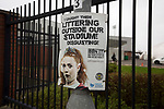 An anti-littering poster outside the Paisley2021 Stadium, pictured before Scottish Championship side St Mirren played Welsh champions The New Saints in the semi-final of the Scottish Challenge Cup for the right to meet Dundee United in the final. The competition was expanded for the 2016-17 season to include four clubs from Wales and Northern Ireland as well as Scottish Premier under-20 teams. Despite trailing at half-time, St Mirren won the match 4-1 watched by a crowd of 2044, including 75 away fans.