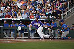 OMAHA, NE - JUNE 26: Beau Jordan (24) of Louisiana State University drives in two runs with a single against the University of Florida during the Division I Men's Baseball Championship held at TD Ameritrade Park on June 26, 2017 in Omaha, Nebraska. The University of Florida defeated Louisiana State University 4-3 in game one of the best of three series. (Photo by Justin Tafoya/NCAA Photos via Getty Images)