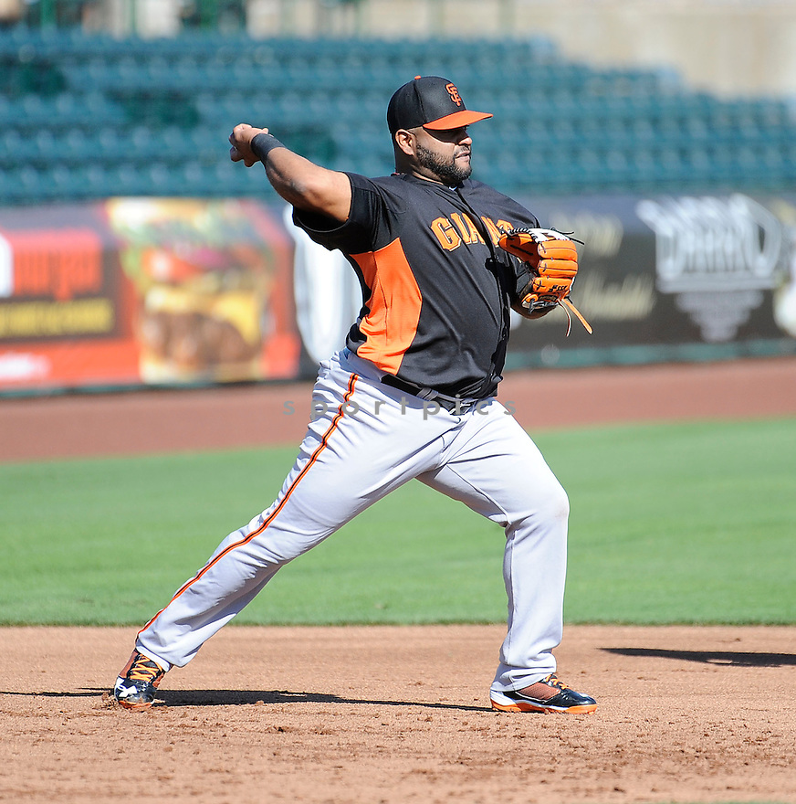 San Francisco Giants Pablo Sandoval (48) during a workout on February 18, 2013 at spring training in Scottsdale, AZ.
