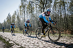 AG2R La Mondiale recon the cobbles of Arenberg sector before Paris-Roubaix 2019. Wallers, France. 11th April 2019<br /> Picture: ASO/Pauline Ballet | Cyclefile<br /> All photos usage must carry mandatory copyright credit (© Cyclefile | ASO/Pauline Ballet)