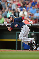 Pawtucket Red Sox outfielder Corey Brown (5) at bat during a game against the Buffalo Bisons on August 23, 2014 at Coca-Cola Field in Buffalo, New  York.  Buffalo defeated Pawtucket 15-2.  (Mike Janes/Four Seam Images)