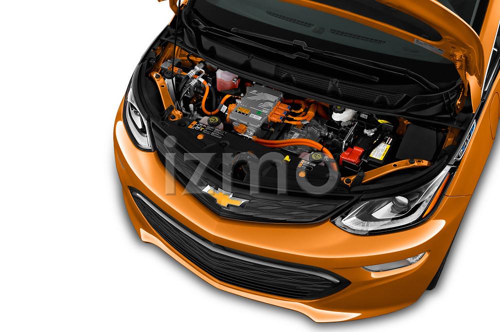 Car Stock 2017 Chevrolet Bolt-EV LT 5 Door Hatchback Engine  high angle detail view