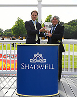 Connections of Madrinho receive their trophy for winning  The Shadwell Stud Racing Excellence Apprentice Handicap during Afternoon Racing at Salisbury Racecourse on 12th June 2018