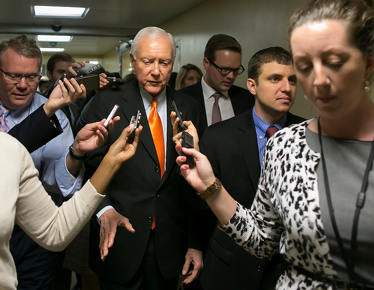 UNITED STATES - JULY 21: Sen. Orrin Hatch, R-Utah, heads to the weekly Senate Republicans' policy luncheon on Capitol Hill on Tuesday, July 21, 2015. (Photo By Al Drago/CQ Roll Call)