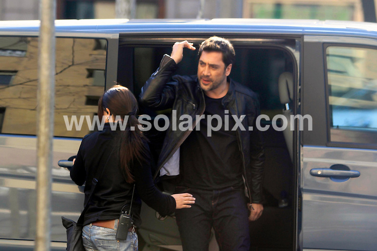 **ALL ROUND EXCLUSIVE PICTURES FROM SOLARPIX.COM**                                             **WORLDWIDE SYNDICATION RIGHTS EXCEPT SPAIN - NO SYNDICATION IN SPAIN**                                                                                  Caption: Spanish Actor Javier Bardem filming an advert in Barcelona Spain..His wife & mother of their new child Penelope Cruz remained in Los Angeles..                                                                             .   JOB REF: 12957       JMB       DATE: 12.03.2011                                                           **MUST CREDIT SOLARPIX.COM OR DOUBLE FEE WILL BE CHARGED**                                                                      **MUST AGREE FEE BEFORE ONLINE USAGE**                               **CALL US ON: +34 952 811 768 or LOW RATE FROM UK 0844 617 7637**