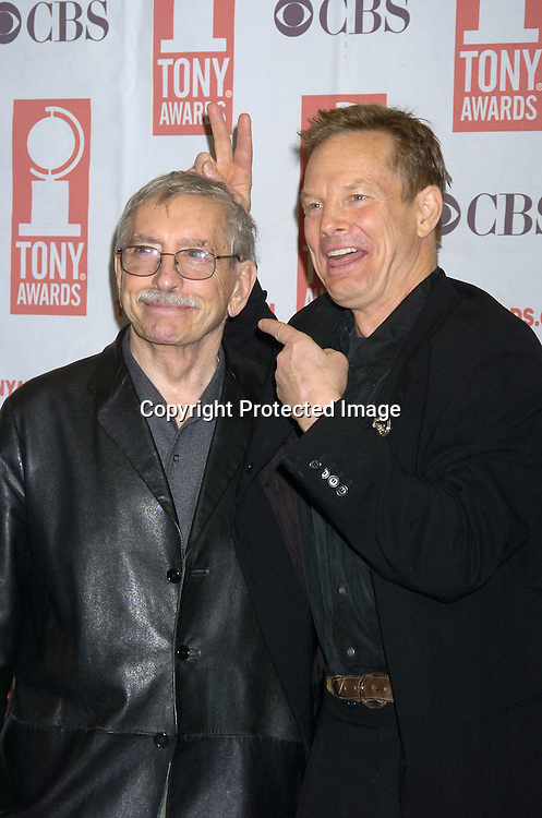 Edward Albee and Bill Irwin ..at The 2005 Tony Awards Nominees Meet the Press Reception on May 11, 2005 at The Marriott Marquis Hotel. ..Photo by Robin Platzer, Twin Images