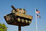Tank-shaped mail box at the Nebraska National Guard Armory